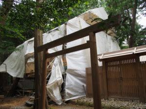 修繕工事が進められる棒原神社(皇大神宮 摂社)