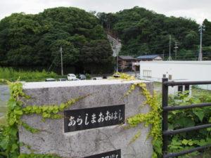 安楽島大橋より遠望する赤崎神社(豊受大神宮 末社)の社叢