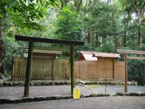 仮殿遷座のための雨儀廊が撤去されていた伊我理神社(豊受大神宮 末社)
