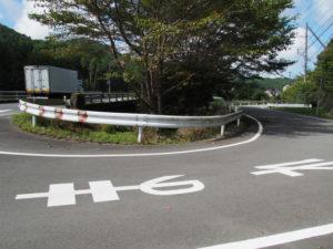 国道368号の中切橋(朝柄川)付近