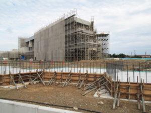 神社・大湊統合小学校(みなと小学校)建設工事の現状
