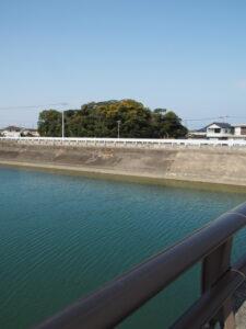 第二湊橋から遠望した志宝屋神社の社叢
