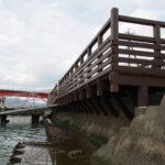 修繕されていた神社 海の駅「船のりば」(伊勢市神社港)