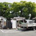 工事用フェンス、足場工事が開始された一色神社(伊勢市一色町)