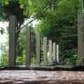 新しく立てられた御垣の支柱、一色神社(伊勢市一色町)