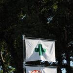 緑十字の安全旗が翻る一色神社(伊勢市一色町)