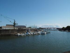 船倉排水機場付近から遠望した一色大橋(勢田川)