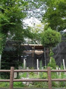 本殿と拝殿をつなぐ屋根が新設される一色神社(伊勢市一色町)
