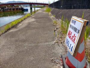 勢田川の浚渫作業(2021年06月中旬)